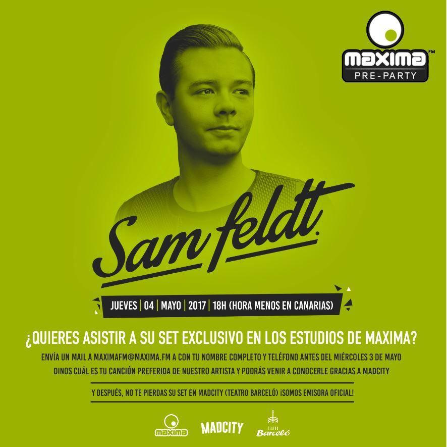 Lista de invitados para conocer a Sam Feldt en Maxima Pre-Party