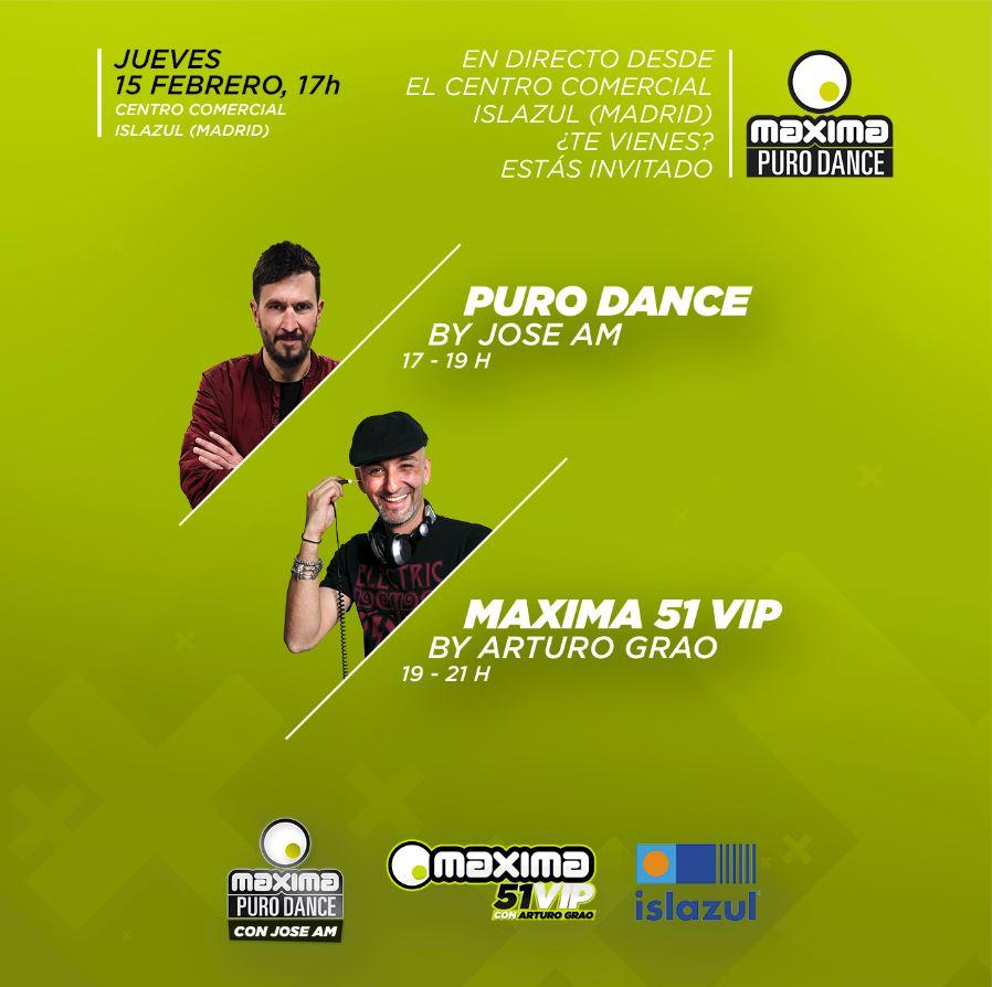 No te pierdas los programas 'Puro Dance' y 'Maxima 51 VIP' en directo desde Islazul